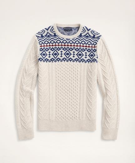 Aran Cable Fair Isle Crewneck Sweater