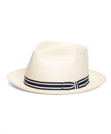 Straw Hat with Navy Stripe Ribbon Band