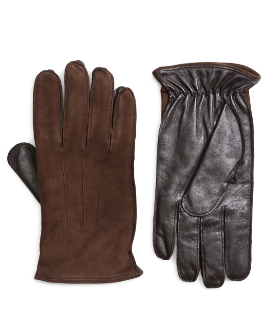 Leather and Suede Touch Screen Gloves Brown