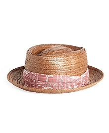 Straw Hat with Print Band
