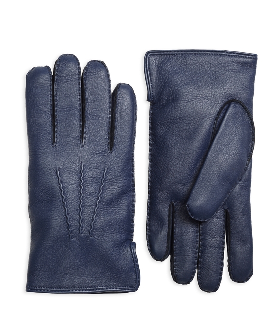 Deerskin Cashmere Lined Gloves Navy-Grey