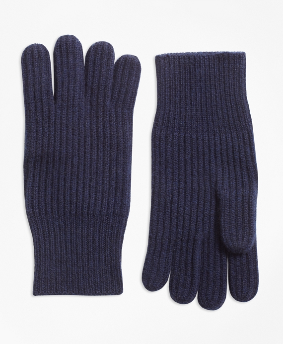 Ribbed Cashmere Gloves Navy