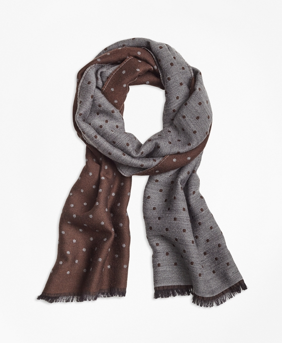 Contrast Polka Dot Scarf Brown