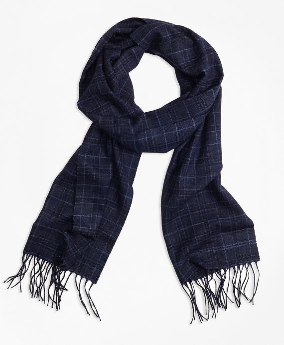 Saxxon™ Wool Plaid Scarf Navy