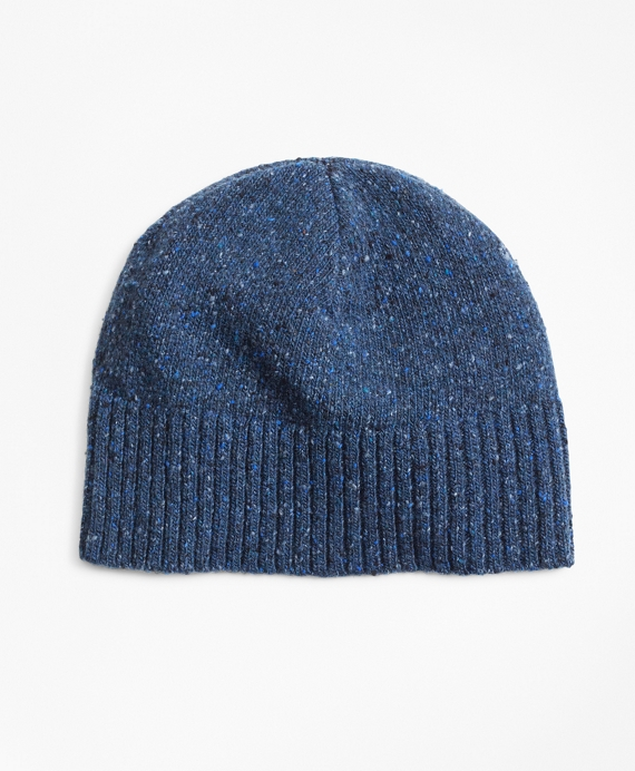 Merino Wool Donegal Knit Hat Navy