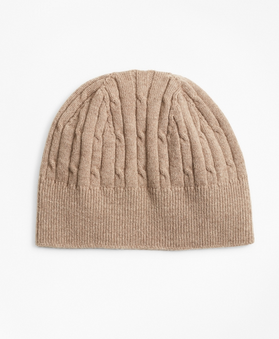 Cashmere Cable Knit Hat Beige