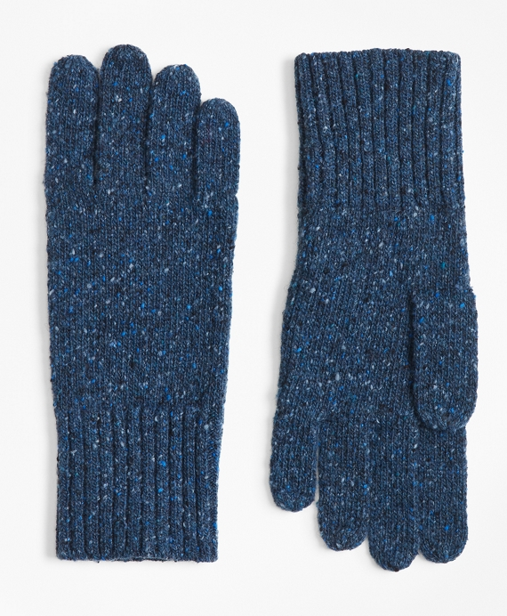 Merino Wool Donegal Knit Gloves Navy