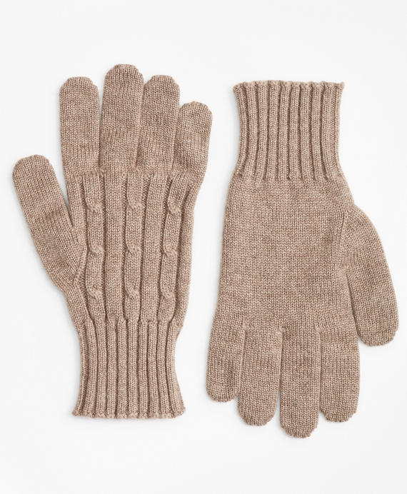 Cashmere Cable Gloves Beige
