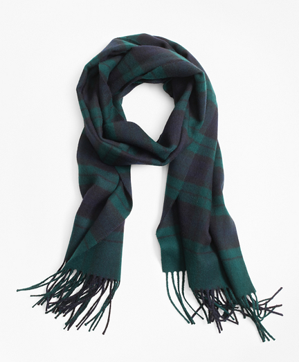Navy and Green Tartan Scarf