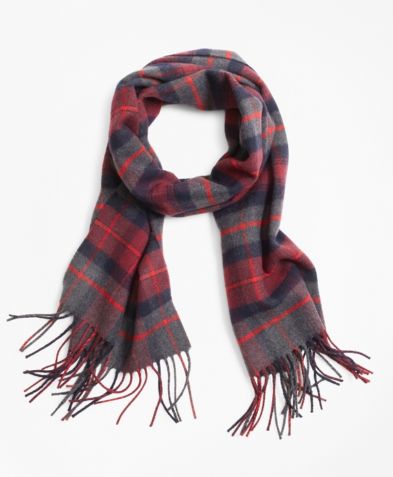 Navy and Grey Tartan Scarf Navy-Grey-Red