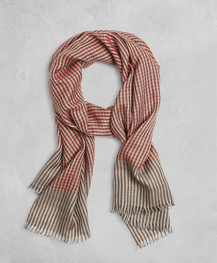 Golden Fleece® Checked Cashmere Silk Scarf