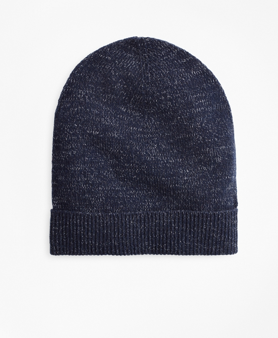 Ribbed Marled Wool Hat Navy