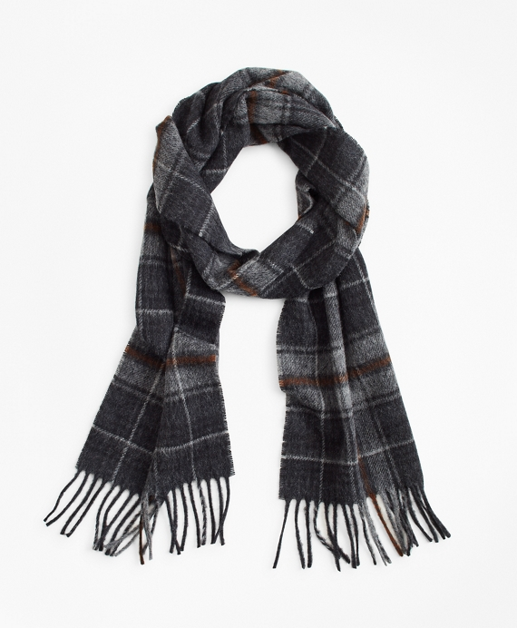 Grey Tartan Scarf Dark Grey