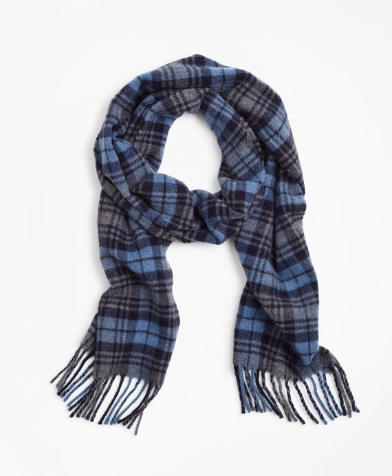Wool Tartan Scarf Blue