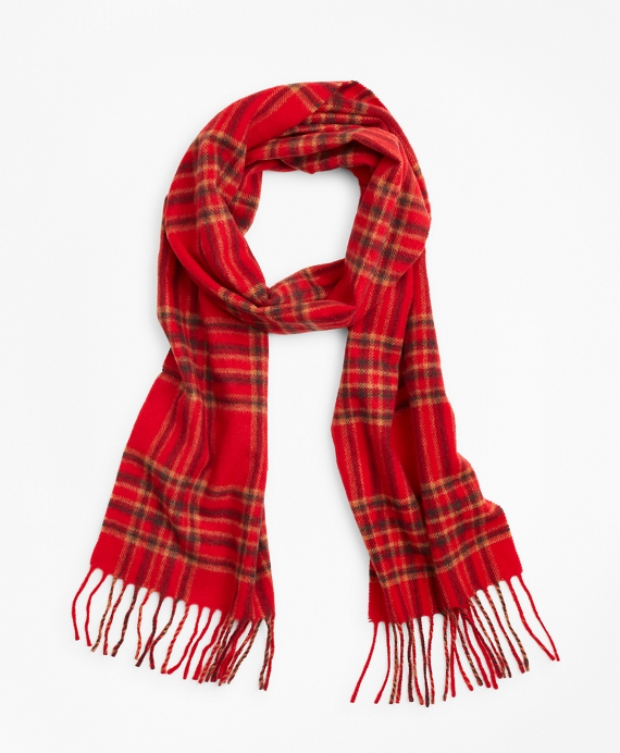 Wool Tartan Scarf Orange