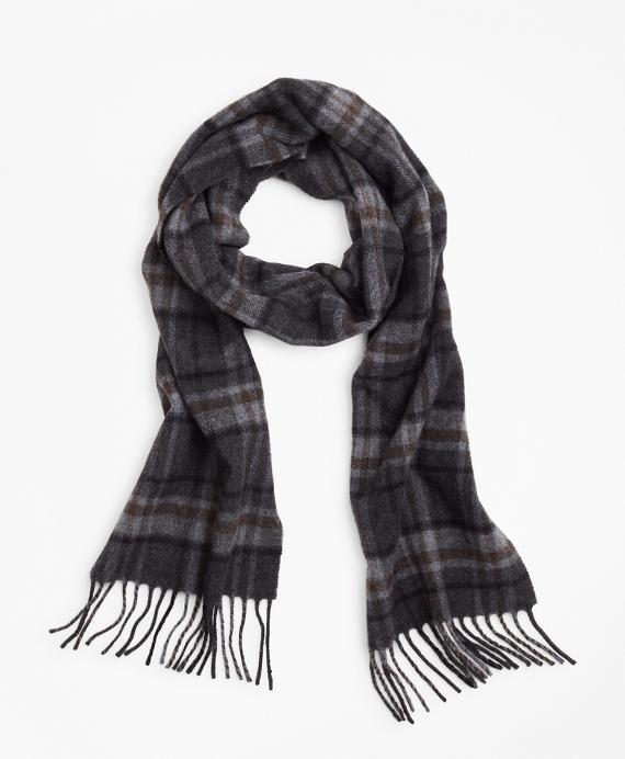 Wool Tartan Scarf Grey