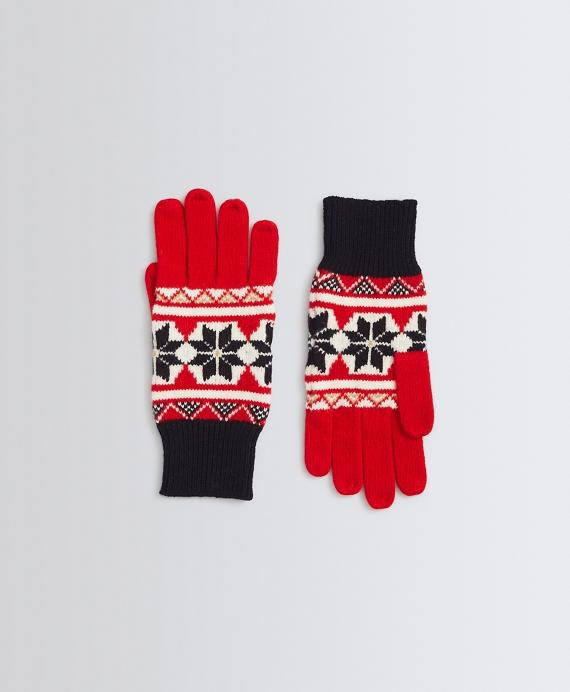Fair Isle Merino Wool Gloves Red
