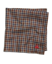 Brown Tattersall Pocket Square