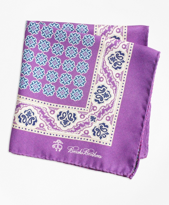 Paisley and Circle Link Pocket Square Purple