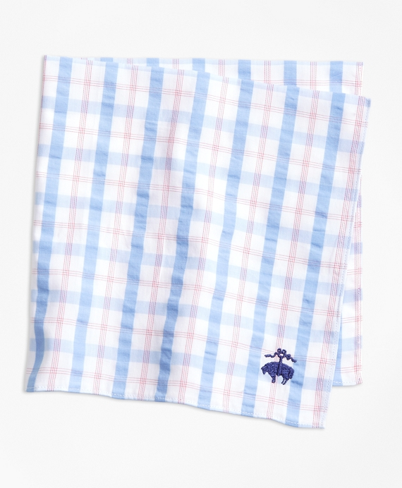 Plaid Seersucker Pocket Square Pink