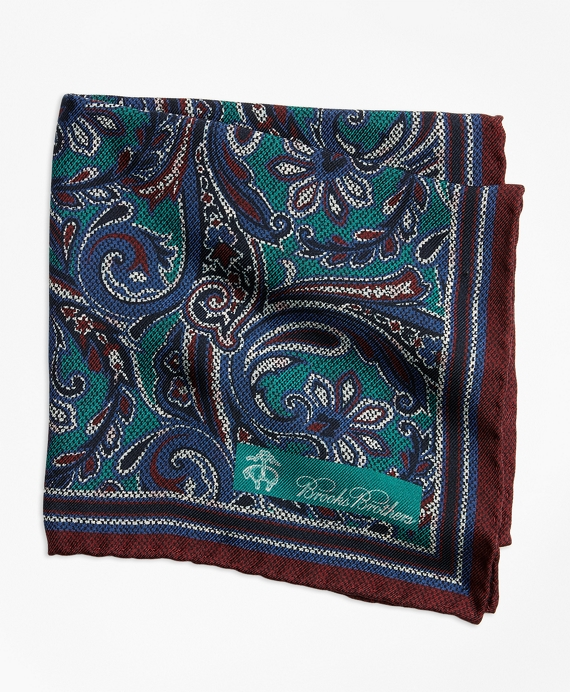 Paisley and Dot Pocket Square Green