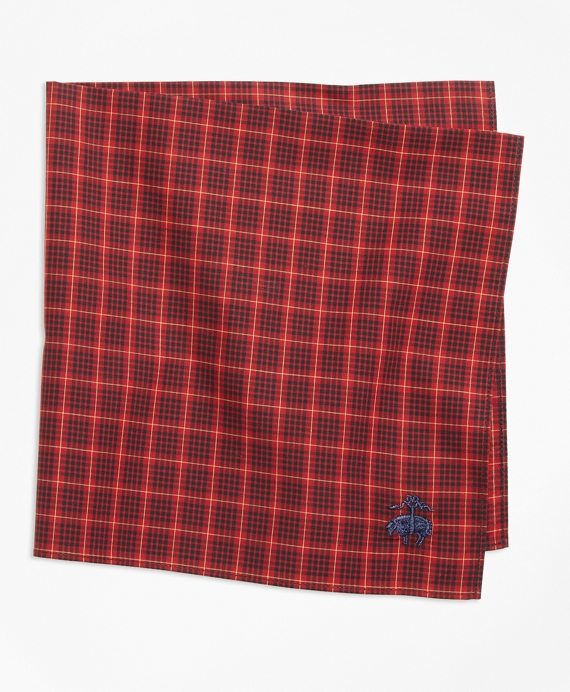 Multi-Check Pocket Square Red