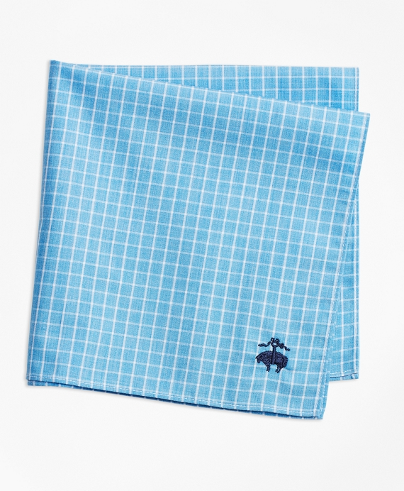 Windowpane Pocket Square Blue