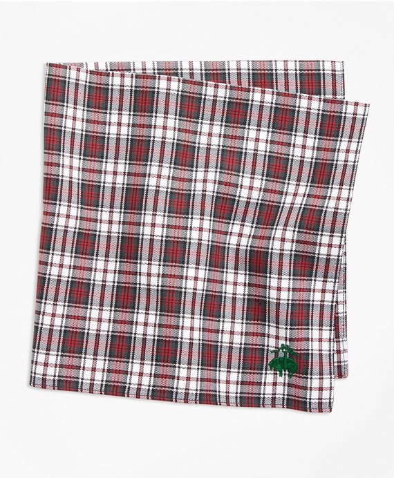 Dress Stewart Tartan Pocket Square White-Red