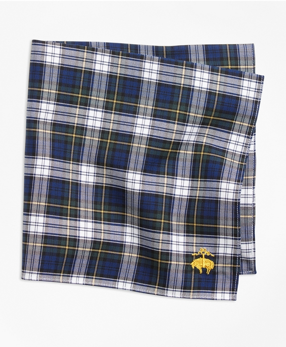 Dress Gordon Tartan Pocket Square Green-White