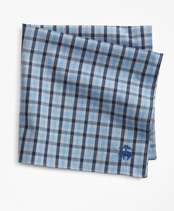 Supima® Cotton Heathered Check Pocket Square Blue