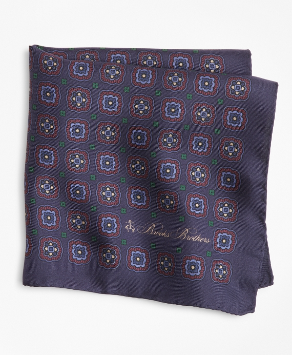 Multi-Square Medallion Pocket Square Navy