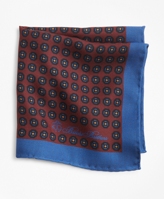 Foulard Plaid Pocket Square Burgundy-Navy