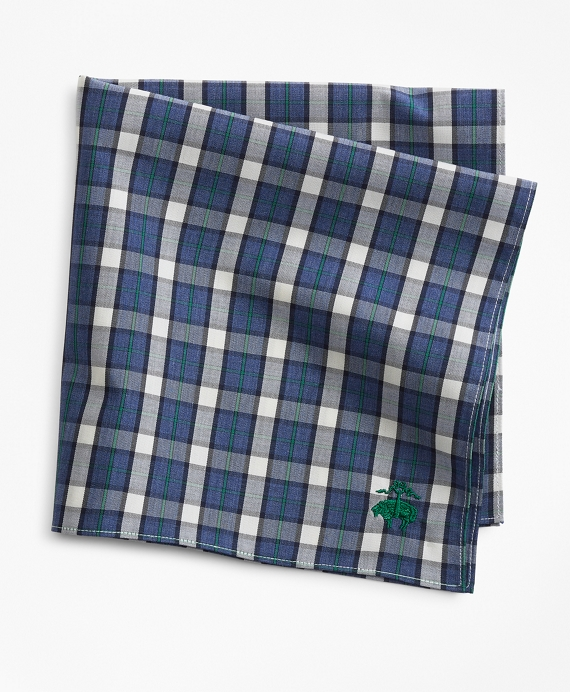 Supima® Cotton Check Pocket Square Navy