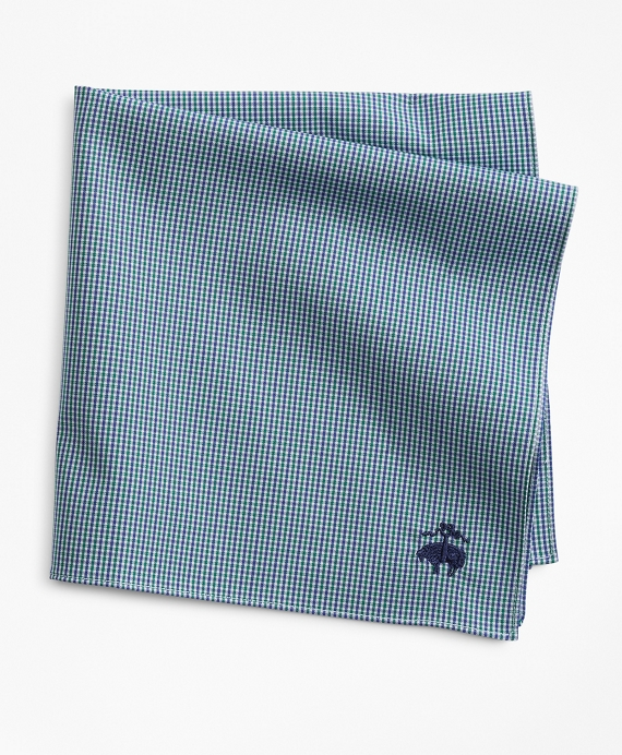 Two-Tone Gingham Pocket Square Green