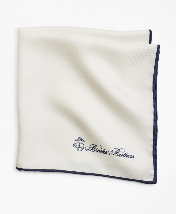 Edge Framed Pocket Square White-Navy
