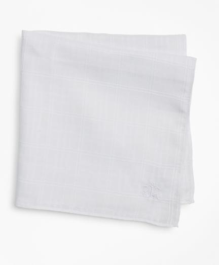 Textured Windowpane Linen Pocket Square
