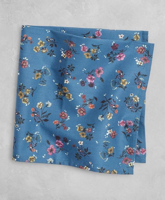 Golden Fleece® Daisy-Print Cotton Pocket Square Blue