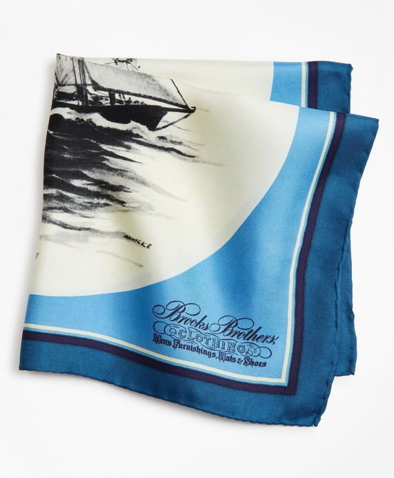 Limited Edition Archival Collection Spring 1977 Silk Pocket Square Blue