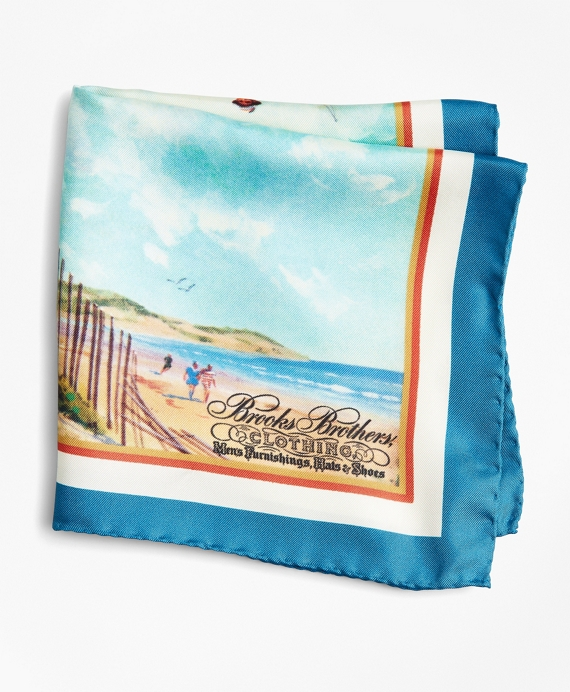 Limited Edition Archival Collection Spring 1981 Silk Pocket Square Blue