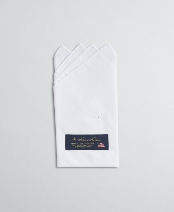 Pre-Folded 4-Point Cotton Pocket Square White