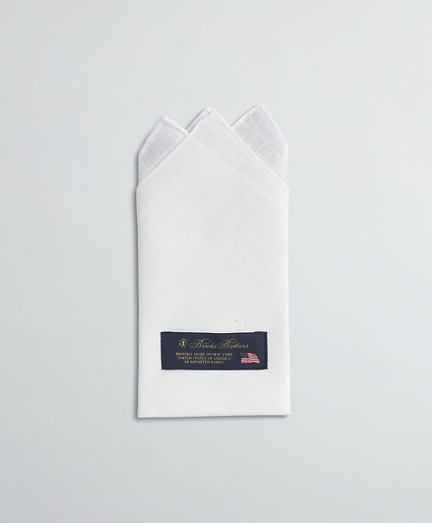 Pre-folded pocket square, 3-point fold. 100% linen. Made in USA.