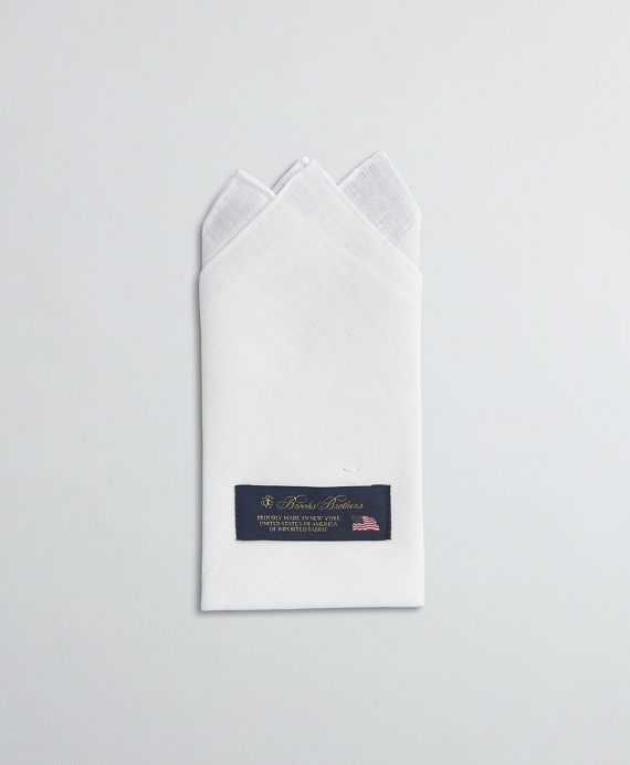 Pre-folded pocket square, 3-point fold. 100% linen. Made in USA. White
