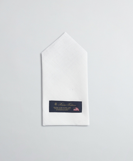Pre-folded pocket square, centered 1-point fold. 100% linen. Made in USA.