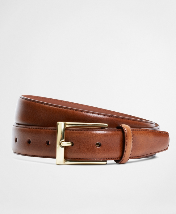 Gold Buckle Dress Belt Brown
