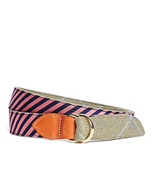 Kiel James Patrick Navy and Pink Mini BB#5 Stripe and Herringbone Belt