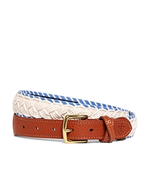 Kiel James Patrick White and Light Blue Braided Belt
