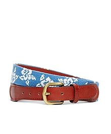 Hibiscus Needlepoint Belt