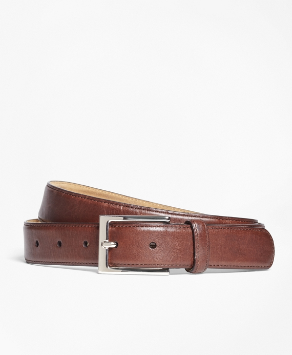 Soft Leather Dress Belt Brown