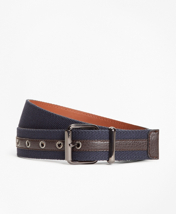 Canvas with Leather Belt Navy