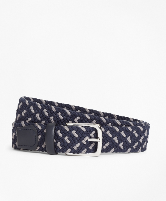 Braided Stretch Belt Navy-Grey